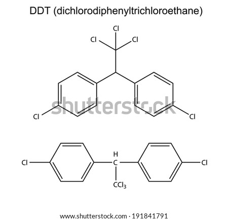 Structural chemical formulas of pesticide DDT, 2d illustration, isolated on white
