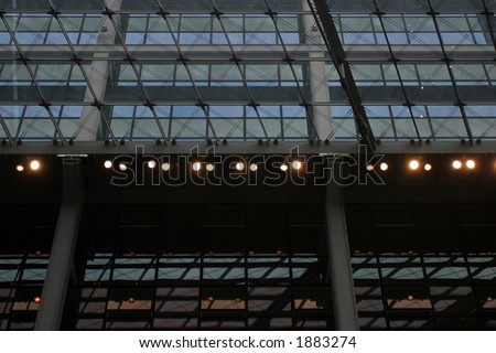 Structural glazing roof and elevation detail - stock photo