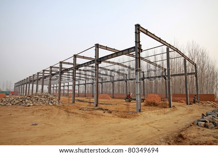 structural steel beam construction site in the wild - stock photo