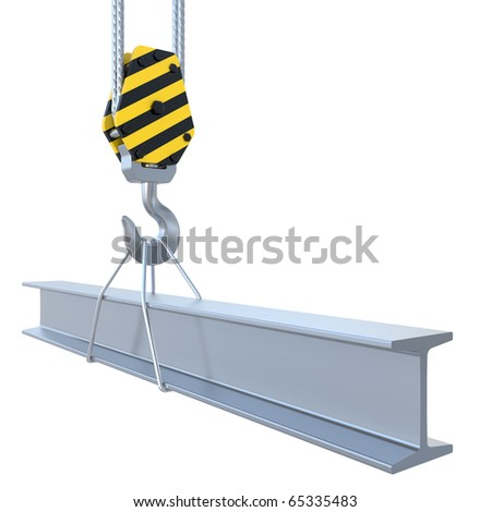 structural steel with the hook and the steel rope - stock photo