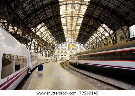 Structure and roof of the train station. Barcelona. Art Nouveau style. - stock photo