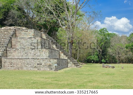 Structure 4 at the Great Plaza of at Copan archaeological site of Maya civilization in Honduras - stock photo