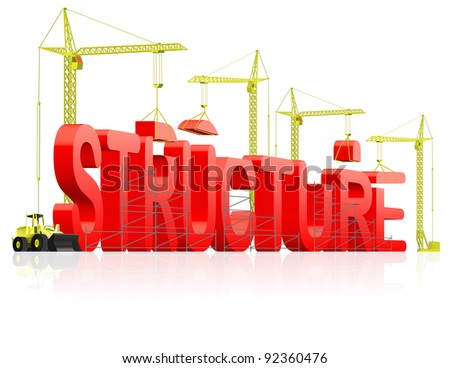 structure building in red text under construction,building word