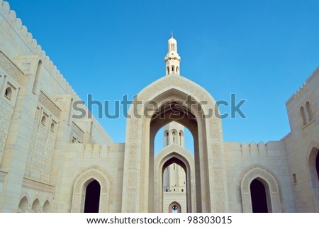 STRUCTURE DETAIL OF THE BIG MOSQUE MINARET- OMAN - stock photo