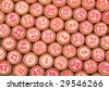 Structure from wooden counters of a bingo with red digits - stock photo