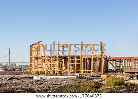 structure of a home being built - stock photo