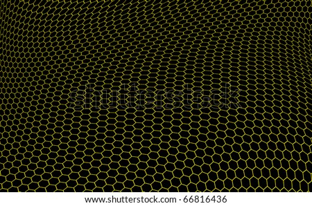 structure of graphene in the form of yellow hexagons over black background - stock photo