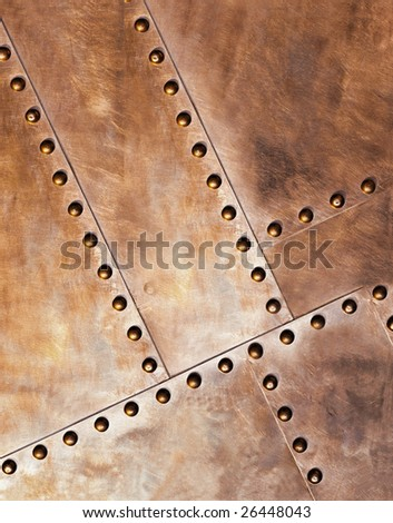Structure of old metal with rivets - stock photo