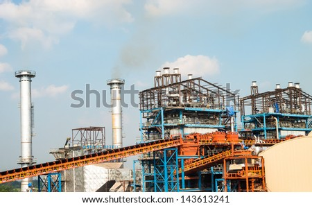 Structure of power plant building, steel have insulated with aluminum. - stock photo