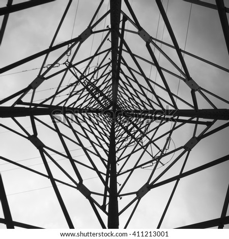Structure of pylon of high voltage. Creative composition by wide angle lens.