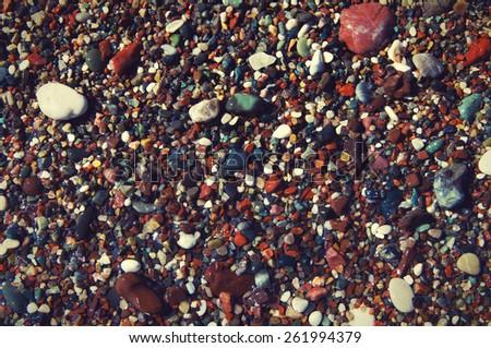 Structure of sea color pebble for design / Sea color pebble - stock photo