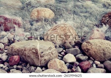 Structure of sea color pebble for design / Sea color pebble /  Sea - stock photo
