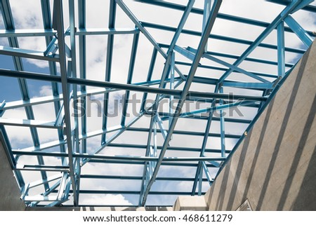 Structure of steel roof frame for building construction.The advantage of this structure is lightweight but strong.