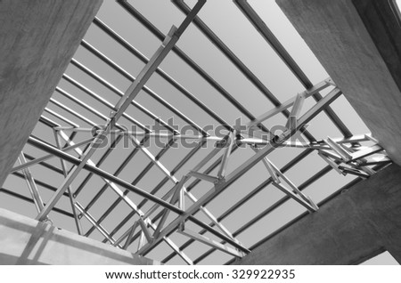 Structure of steel roof frame for construction. In Black and White.
