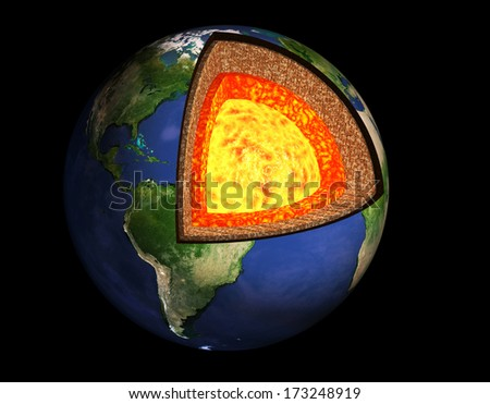 Structure of the Earth. Model isolated on black background - stock photo