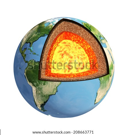 Structure of the Earth. Model isolated on white background. Elements of this image furnished by NASA - stock photo