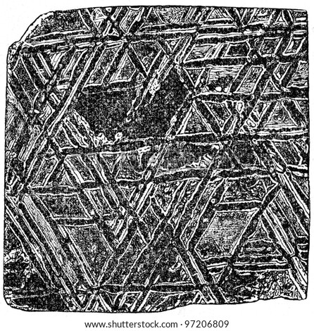 structure of the meteorite, Vidmanshtet's figures - an illustration of the encyclopedia publishers Education, St. Petersburg, Russian Empire, 1896 - stock photo