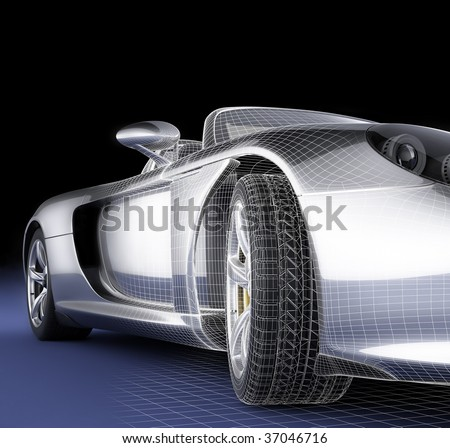 Structure of three-dimensional model of the car - stock photo