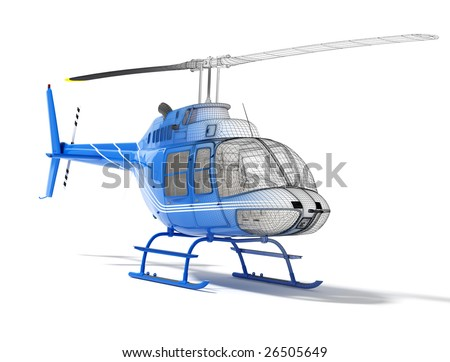 Structure of three-dimensional model of the helicopter, front view - stock photo