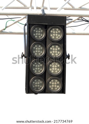 Structures of stage illumination lights equipment isolated over white background