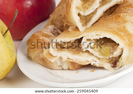 Strudel cake with apples, closeup shot, local focus