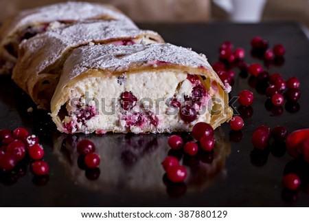 Strudel or pie with cheese and cranberries - stock photo