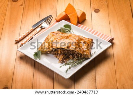 strudel stuffed with chopped meat pumpkin and herbs - stock photo