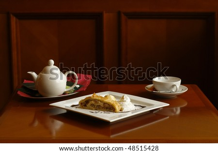 strudel with tea or coffee - stock photo