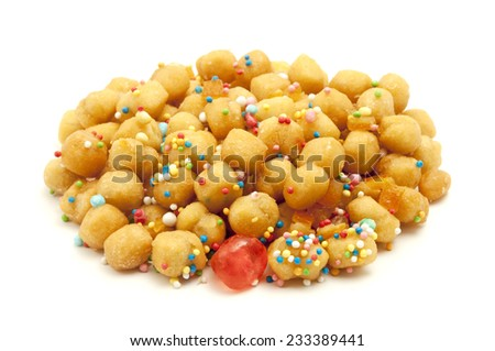 Struffoli on a white background - stock photo