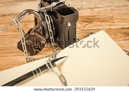 Struggle for freedom of press, a concept - stock photo
