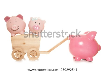 struggling to save piggy banks cutout - stock photo