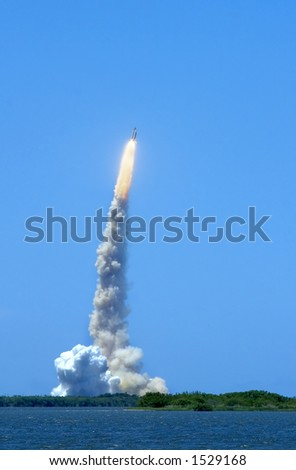STS-121 July fourth launch from Kennedy Space Center, Cape Canaveral Florida - stock photo