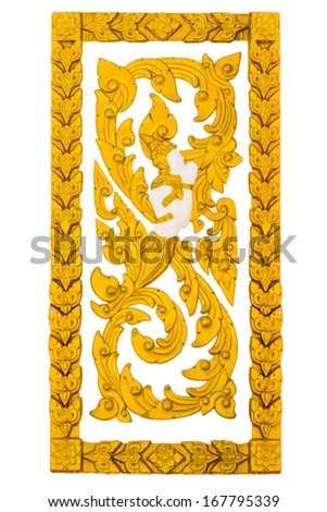stucco angle on the temple wall, on white background, Thailand. - stock photo