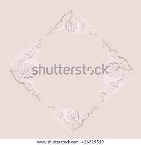 Stucco element of architectural decoration on the wall - stock photo
