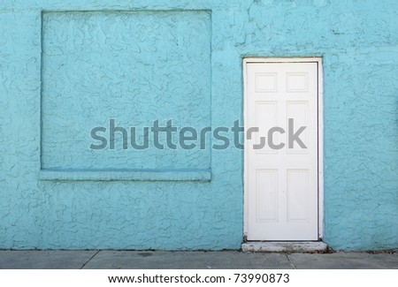 stucco wall & door - stock photo