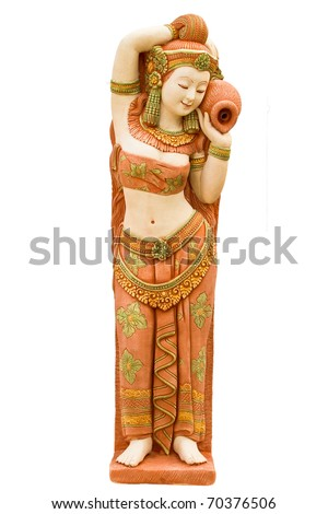 Stucco walls, indigenous crafts in Thailand white background. - stock photo