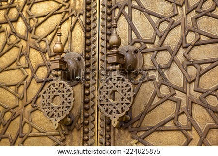 Stuchalki curly gate of the mosque Hassan. Discount. Morocco. - stock photo