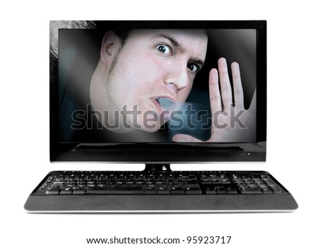 stuck in work, businessman, or office worker trapped inside his computer screen isolated on white - stock photo