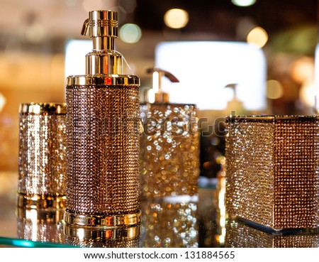 Studded with crystals bathroom accessories - stock photo