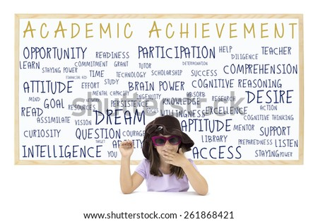 Student Academic Achievement Dry White Board: Intelligence, Readiness, Attitude, Opportunity, Preparedness, Resources, Goal, Access, Participation, Listen, Technology, Persistence - stock photo