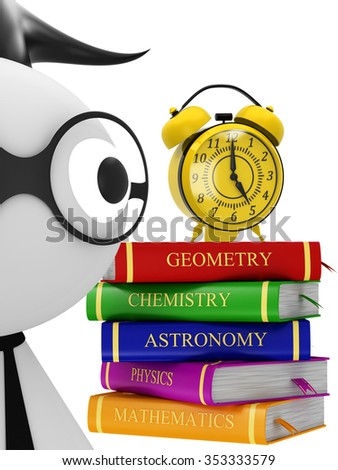 Student and stack of books and clock - stock photo