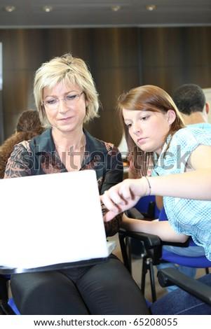 Student and teacher - stock photo