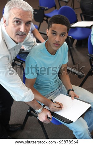 Student and teacher - stock photo
