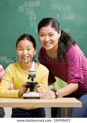 Student  and teacher with microscope in science classroom
