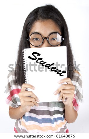 Student, Asian kid holding student white notebook, study/ - stock photo