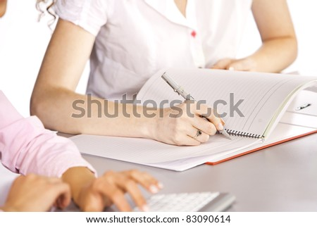 student at desk - stock photo