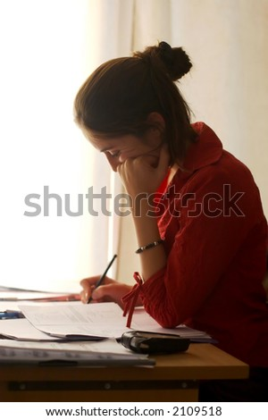 Student at work - stock photo