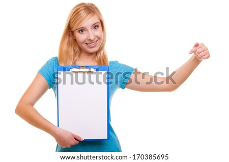 Student blank sign. Blonde girl female college student holds clipboard with blank and pointing. Isolated on white background