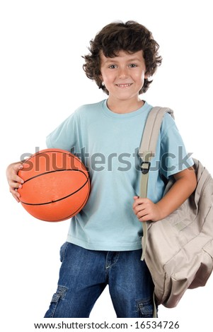 student boy blond with a basketball over white background - stock photo