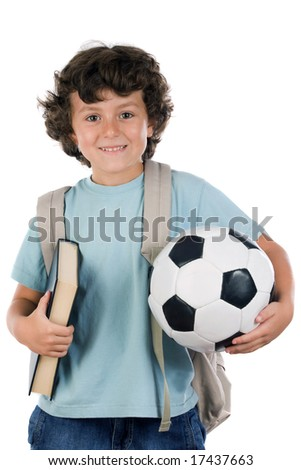 Student boy blond with a soccer ball over white background